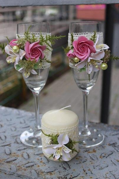Розово- белая свадьба, с розами и альстромерией. Полимерная глина. Ручная работа…. (2 фото)