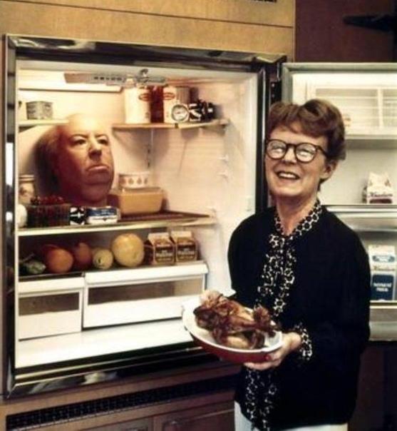 На фото: супруга Альфреда Хичкока и очередная шутка мужа