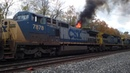INSANE SIGHT! CSX DASH-8 Bursting In Flames w/ Tier 4 GEVO Leading, Mander Rd. Valparaiso IN