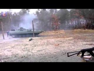 Бой БМП Украинских войск ведет огонь по ДНР 25 12 Донецк War in Ukraine