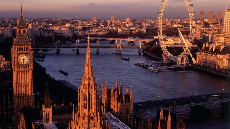 Картинка город. Река, закат, Англия, город, Лондон.