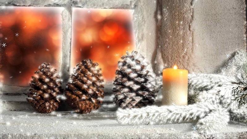 Зима окно снегопад Фоновый футаж