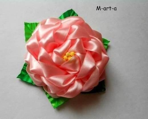 Роза из атласной ленты в технике канзаши …. (8 фото) - картинка