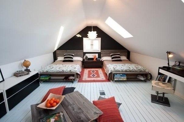 Уютная спальня на чердаке (1 фото) - картинка