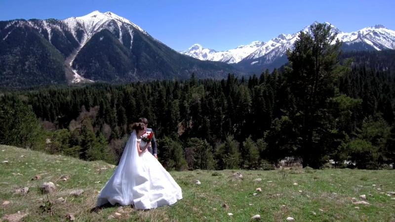 Свадебная съемка с коптера в Архызе (апрель 2018)