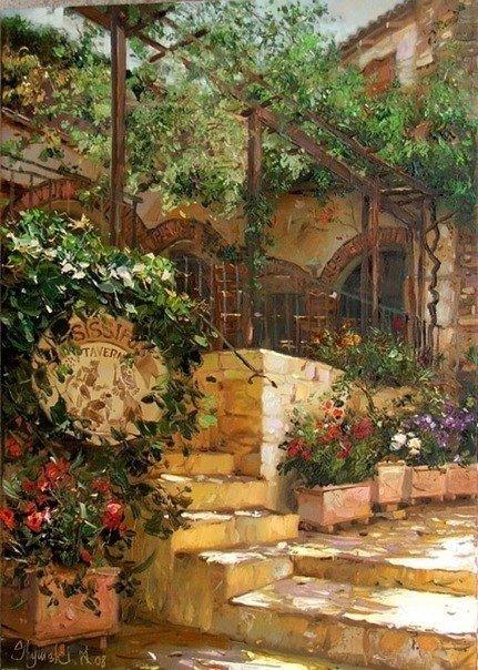 Тепло солнечного дня и очарование маленьких двориков и улочек в работах художника Shymski Andras #art@iloveart