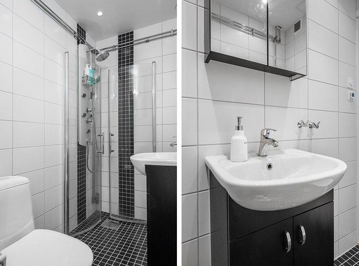 Оптимально организованная студия 28 м: гостиную и кухню условно разделяет барная стойка, а гостиную и спальню - стеллаж.