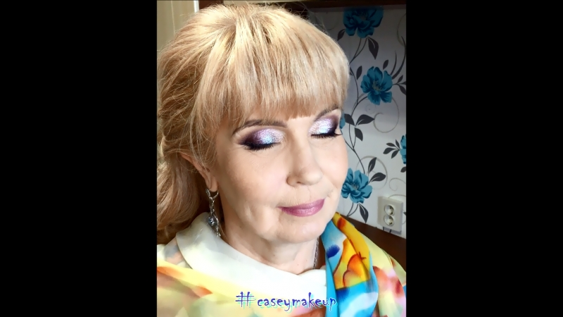 Ксения Саватеева. Цветные смоки айз в лифтинг-макияже и собранные локоны для Ирины
