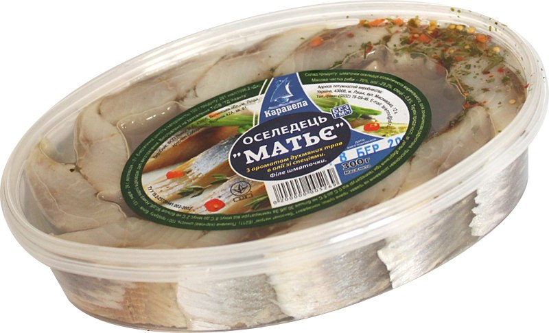 "Філе-шматочки оселедця ""Матьє з ароматом духмяних трав в олії зі спеціями"" /Каравела/, 300 г"