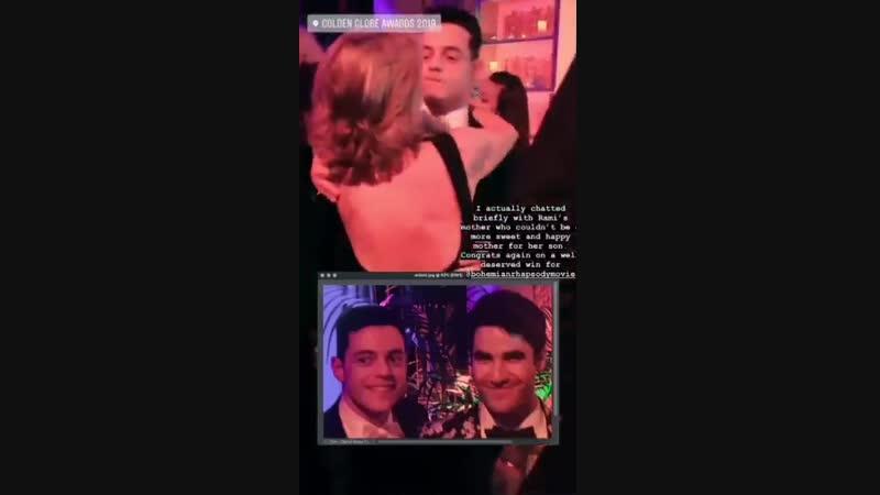 Darren Criss, Rami Malek Brian May at the FOX, FX And Hulu 2019 Golden Globe Awards After Party via Sheree Hos IG Story