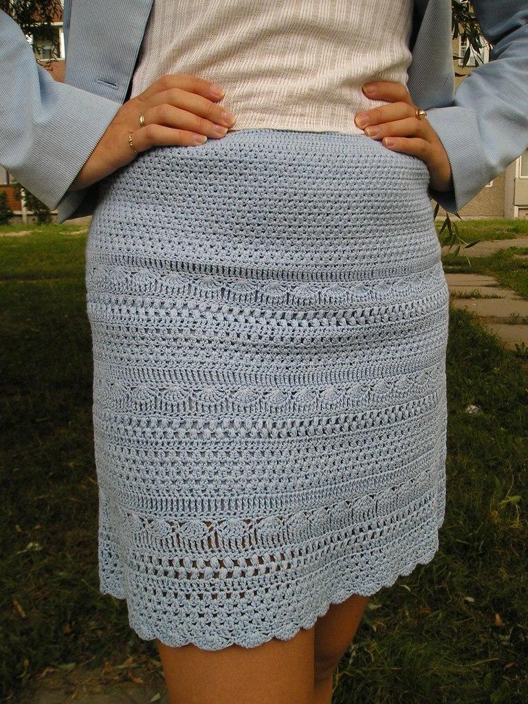 Прямая юбка крючком для полных