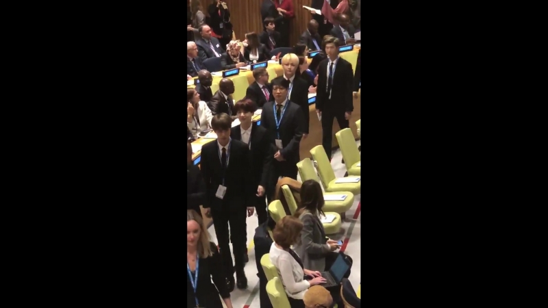 Here's @bts_bighit at UNGA. They'll be speaking at an event titled Youth 2030