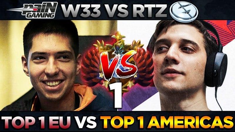 TOP-1 MMR EU w33 vs TOP-1 MMR AMERICAS Arteezy - Ember vs Gyro - EPIC Battle Dota 2