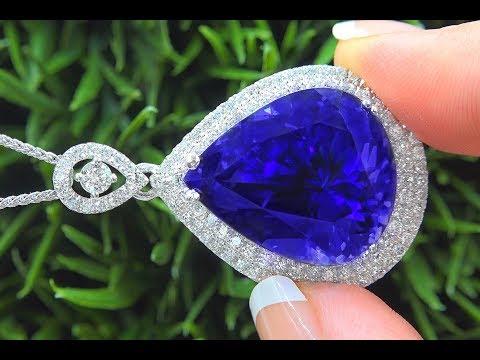 Tanzanite Diamond Pendant Necklace Solid Platinum GIA Certified Estate GEM 38.84 TCW - C997