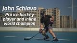 Pro ice hockey player and Inline World Champion, John Schiavo, testing the Marsblade Roller Frame