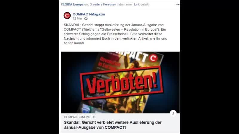 SKANDAL...Gericht stoppt Auslieferung der Januar-Ausgabe von COMPACT (Titelthema ..Gelbwesten – Revolution in Europa..).