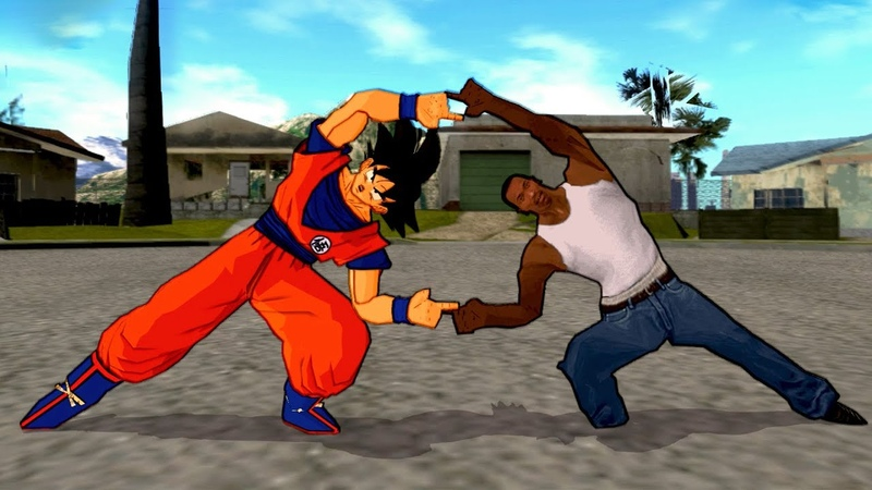 Goku and Carl Johnson (CJ) FUSION | Carlku Sonjohn vs Big Smoke | DBZ Tenkaichi 3 (MOD)