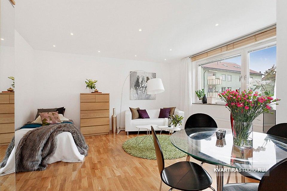 Современный интерьер студийной квартиры 34 м в Стокгольме / Швеция - http://kvartirastudio.