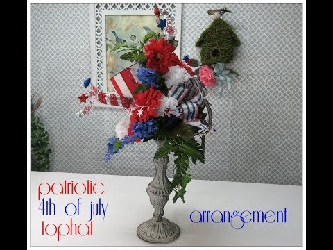 Tricia's Creations Patriotic 4Th of July Tophat Arrangement
