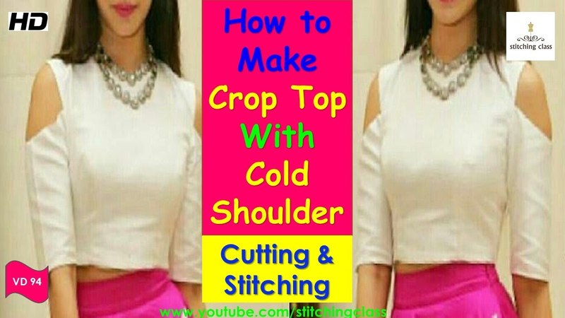 How to Make Crop Top With Cold Shoulder || Crop Top Cutting and Stitching ||
