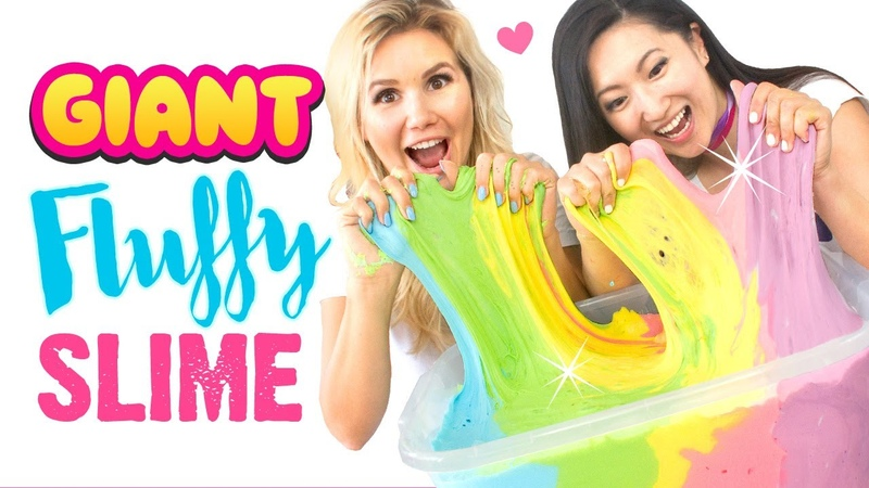 EASY DIY GIANT FLUFFY SLIME Jumbo Rainbow Slime Recipe WITHOUT BORAX!