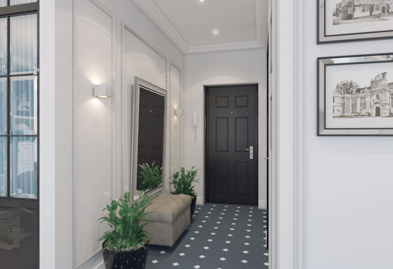 Проект квартиры 44 м в стиле неоклассика.