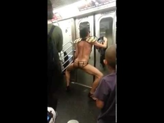 Crazy Guy Dancing on a Train Naked WTF???