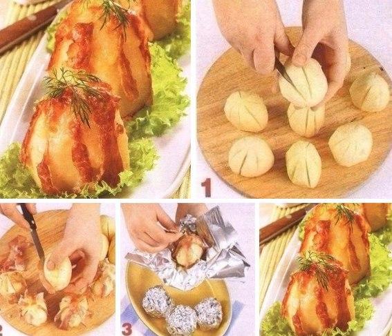 Картошка с ветчиной и сыром в духовке рецепт с пошагово в