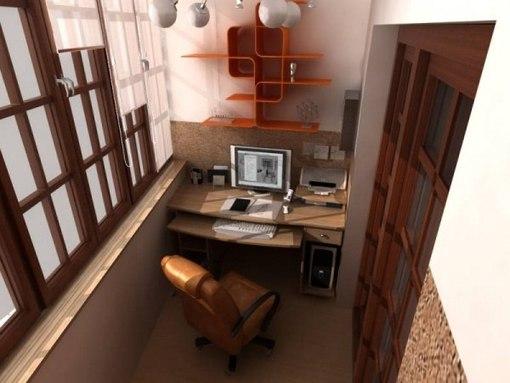 можно утеплить балкон и поставить туда стол с компом, получится небольшой кабинет.  Так же можно там шкаф сделать...