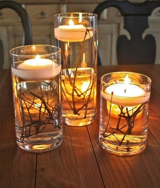 Вода, ветки, свечи - простой и красивый подсвечник готов!
