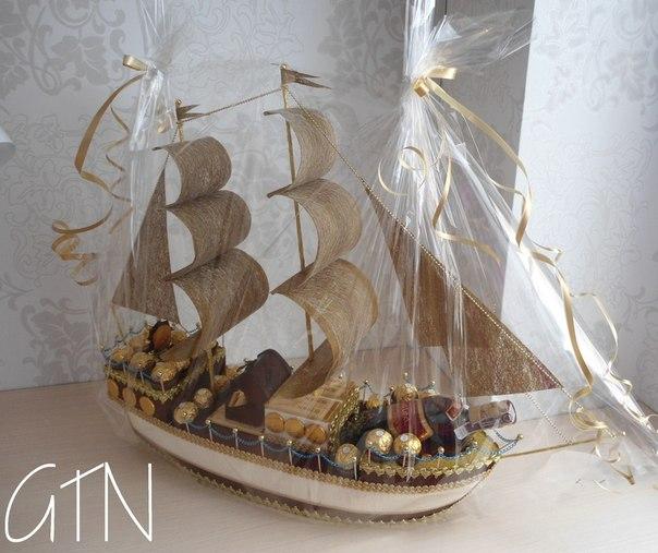 Корабль из конфет и бутылки своими руками пошаговое фото