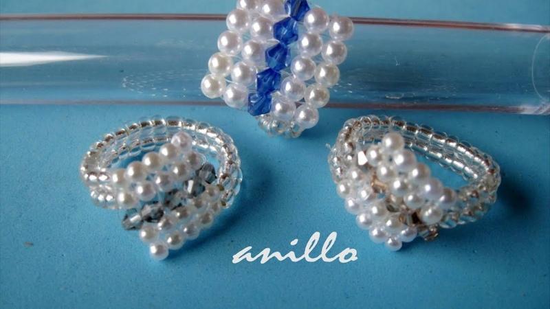 DIY - Anillo facil de perlas y tupis swarouski- Easy ring of pearls and swarovski tupis