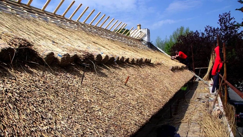 Thatching a building in Ireland