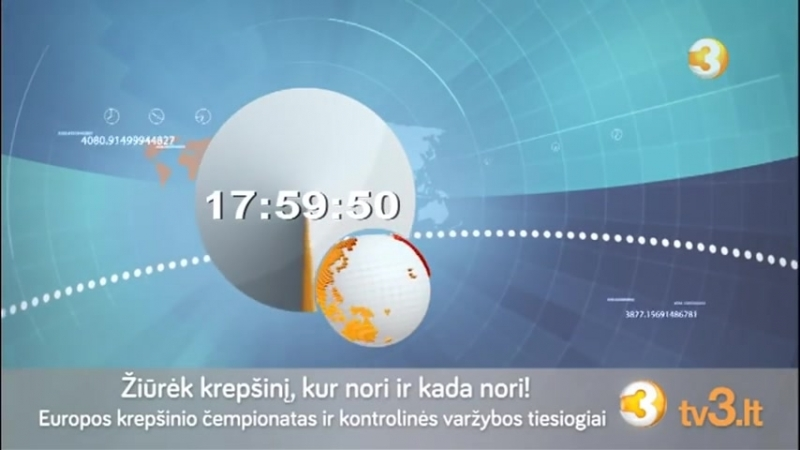 Часы и начало программы Zinios на канале TV3 (Литва). 27.8.2015.mp4