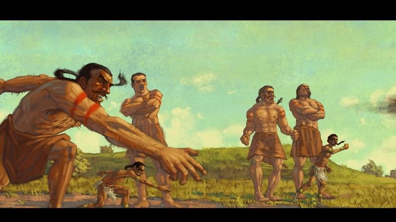 Spanish Conquistadores Encounter Aztec Giant