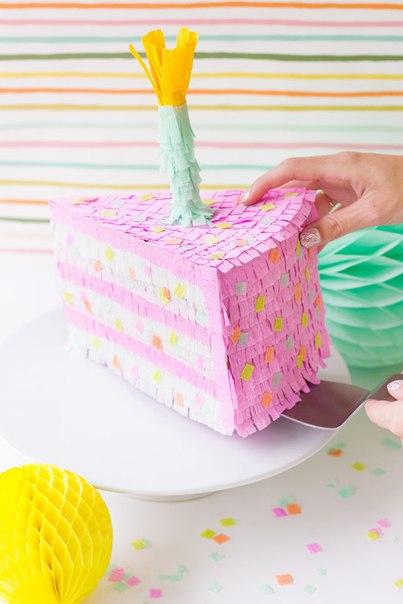 МК: Пиньята в виде кусочка торта (9 фото) - картинка