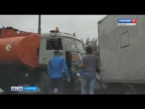 Водителя Газели зажало в кабине после столкновения с бензовозом