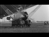 Landing operations of LZ-127 Graf Zeppelin airship at Friedrichshafen, Germany HD Stock Footage