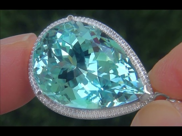 GIA Certified FLAWLESS Natural Aquamarine Diamond 18k White Gold Pendant Necklace - C760