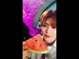 doing video call with jaehyun and he eating the watermelon (2017)