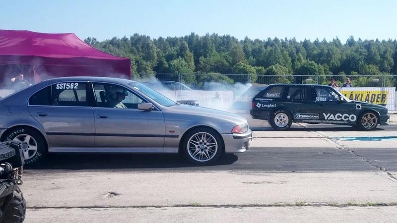 BMW E30 Touring M50 2.9t vs BMW 540i E39 4.4TT 2xHX35 1/4 mile drag race
