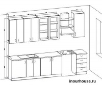 Кухня 11.  Чертеж кухни формата BLF, работает только на платформе программы Базис Мебельщик.
