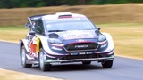 WRC driver Elfyn Evans in the M-Sport Fiesta rally car at Goodwood FOS 2018
