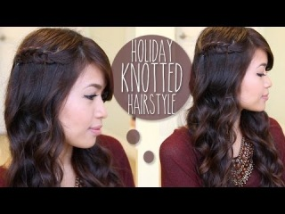 ♥ Holiday Knotted Hairstyle for Medium Long Hair Tutorial
