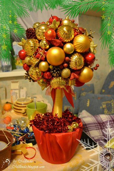 Новогодний топиарий елка своими руками мастер класс