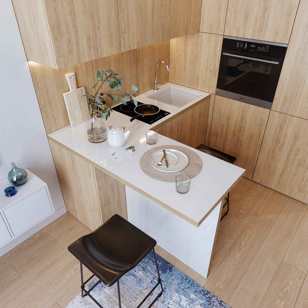 Проект кухни-гостиной в однокомнатной квартире от Andrey Karasev