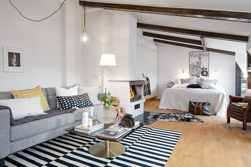 Квартира-чердак 44 м с дровяным камином в Гётеборге / Швеция - http://kvartirastudio.