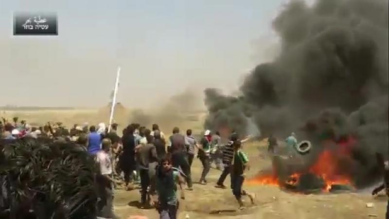 GAZA 14 Maggio : vecchio colpito da un cecchino israeliano