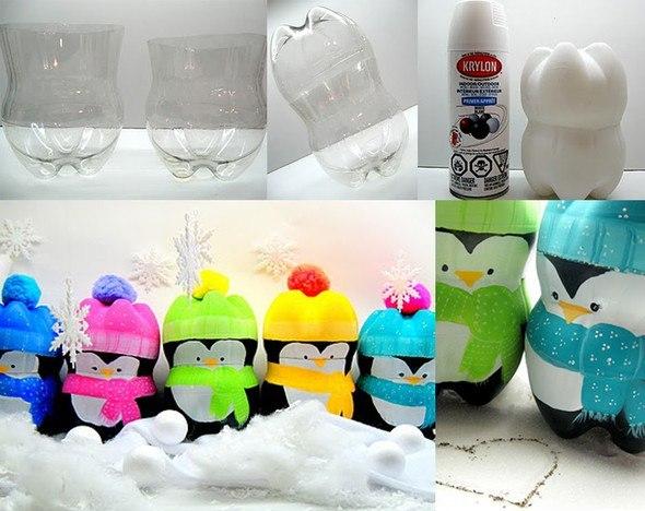 Пингвины из пластиковой бутылки