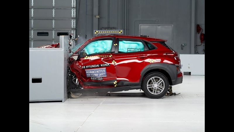 2018 Hyundai Kona driver side small overlap IIHS crash test